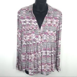 Anthropologie Maeve Pink Islet Button Up Blouse